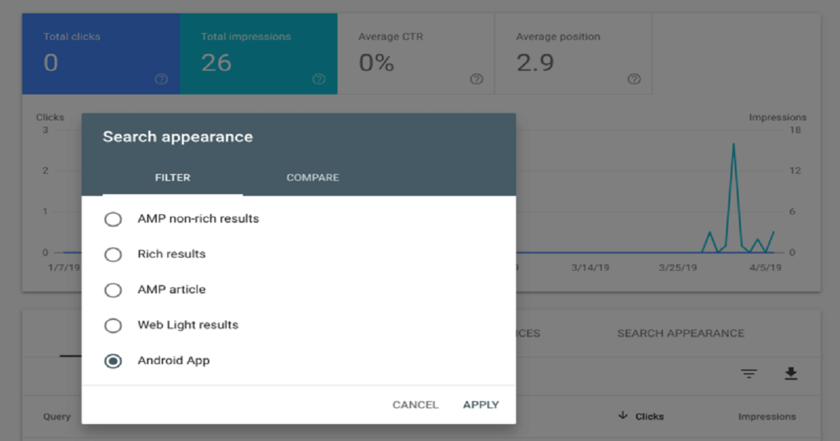 Google Search Console adds Android app filters to performance report